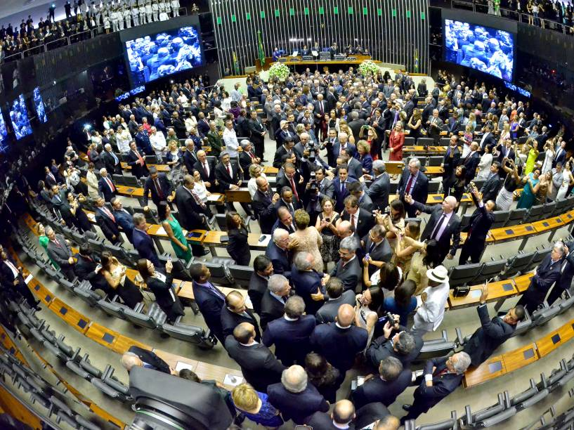 Plenário da Câmara dos Deputados durante solenidade de posse da Presidente da República, Dilma Rousseff - 01/01/2015<br><br> <br><br>