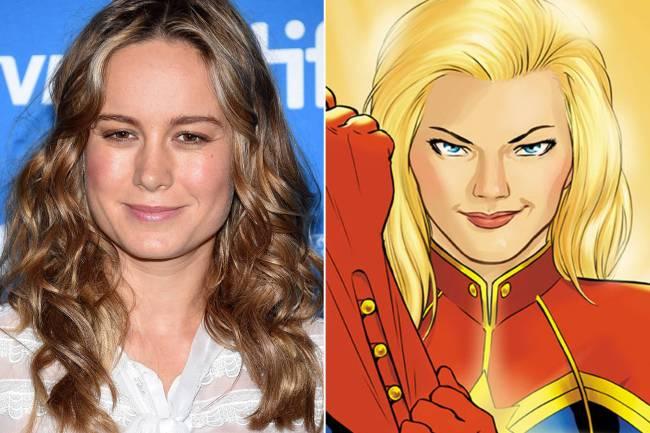 A atriz Brie Larson e a heroína dos quadrinhos Capitã Marvel