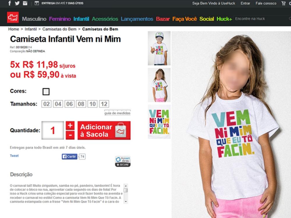 Camiseta infantil da grife de Luciano Huck gera polêmica na internet