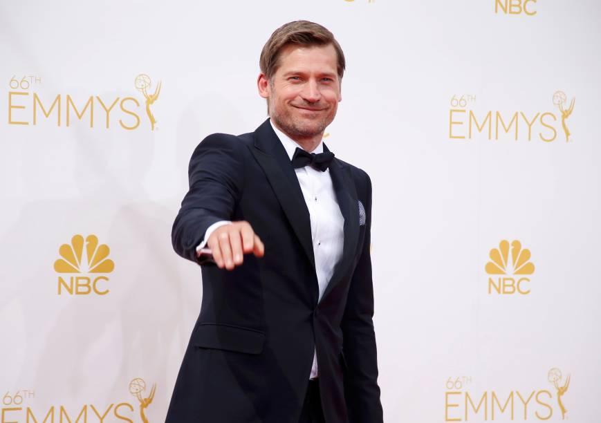 O ator Nikolaj Coster-Waldau da série Game of Thrones chega para o 66º Emmy, em Los Angeles