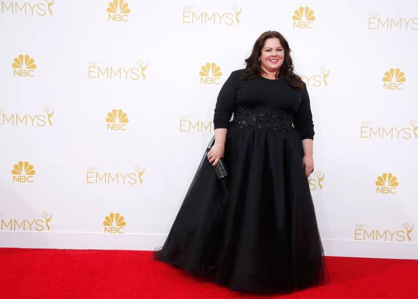 A atriz Melissa McCarthy da série Mike and Molly chega para o 66º Emmy, em Los Angeles