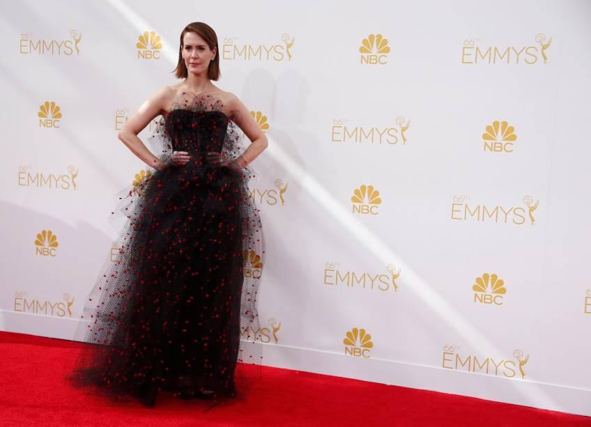 A atriz Sarah Paulson da série American Horror Story: Coven chega ao 66º Emmy, em Los Angeles