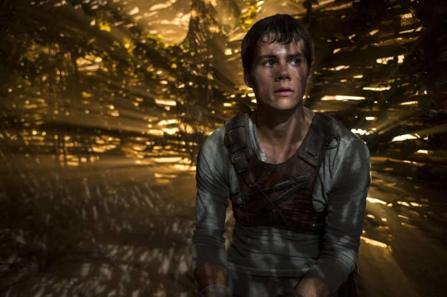 O personagem Thomas (Dylan OBrien), do filme Maze Runner