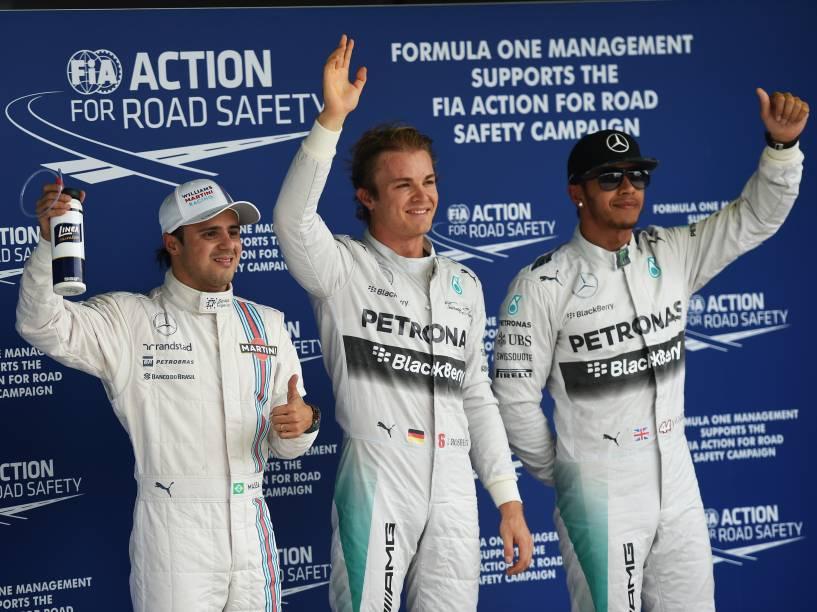 Nico Rosberg, Lewis Hamilton e Felipe Massa foram os mais rápidos do treino de classificação para o Grande Prêmio do Brasil