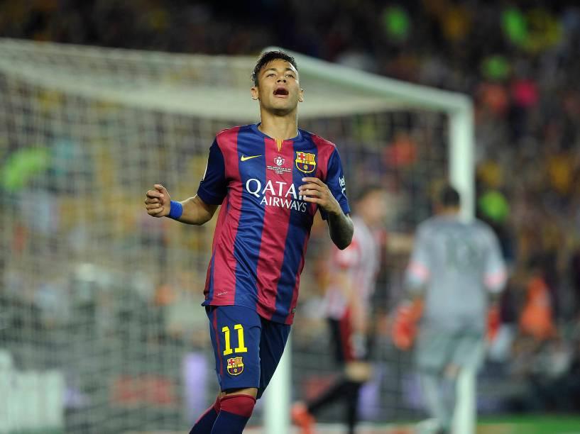 O jogador Neymar do Barcelona durante a partida contra o Athletic Bilbao pela final da Copa do Rei da Espanha