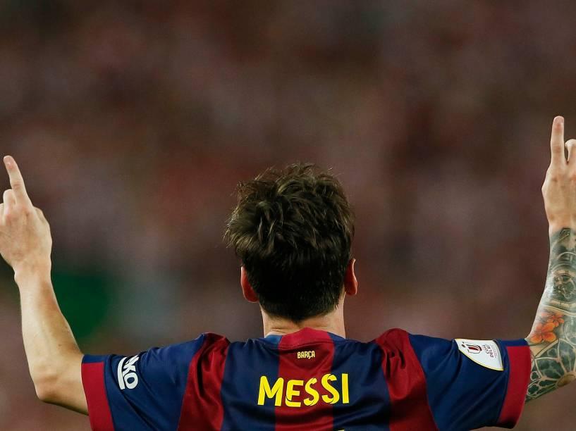 O jogador Lionel Messi do Barcelona, comemora o gol durante a partida contra o Athletic Bilbao pela final da Copa do Rei da Espanha