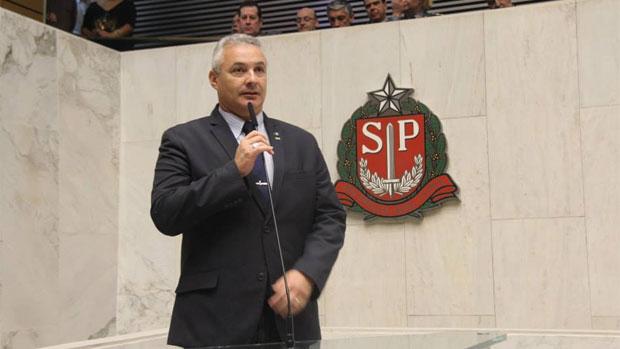 Coronel Telhada discursa em solenidade na Assembleia Legislativa de São Paulo