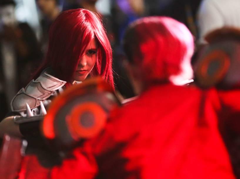 Concurso elege os melhores cosplayers durante o evento Brasil Mega Arena, realizado no Expo Imigrantes, em São Paulo