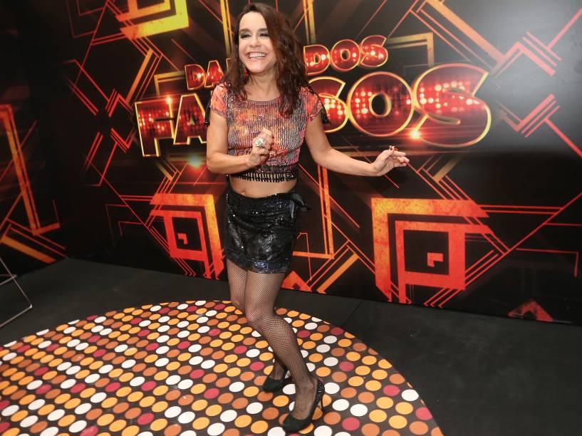 Lucélia Santos nos bastidores da final da Dança dos Famosos