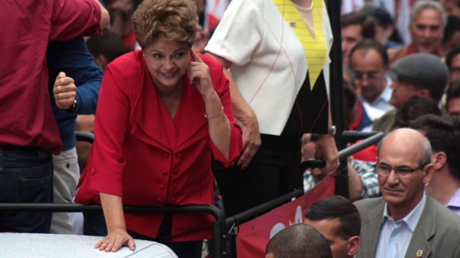 Dilma Rousseff em campanha neste sábado, em São Paulo - 20/09/2014