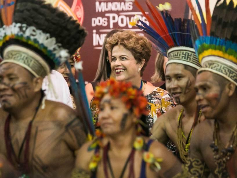 A Presidente da República Dilma Rousseff durante cerimônia de abertura oficial dos 1º Jogos Mundiais Indígenas