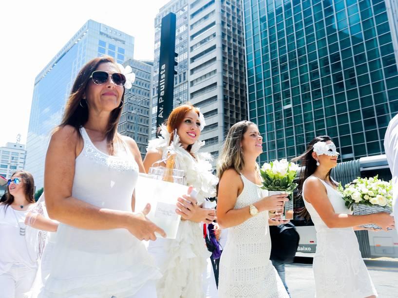 Piquenique homenageia mulheres nesta terça-feira (08), na avenida Paulista, em São Paulo no Dia Internacional da Mulher