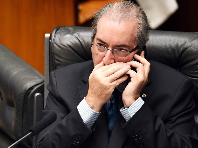O ex-presidente da Câmara, Eduardo Cunha (PMDB) durante sessão de discussão do processo de impeachment da presidenta Dilma Rousseff, no plenário da Câmara - 16/04/2016