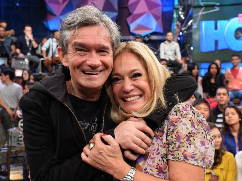 Serginho Groisman e Suzana Vieira durante o Programa Altas Horas da Rede Globo em 2014