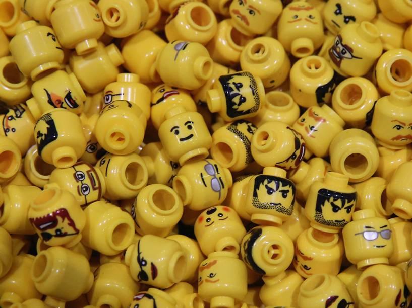 Peças de Lego são exibidas durante a Brick 2014, em Londres, na Inglaterra
