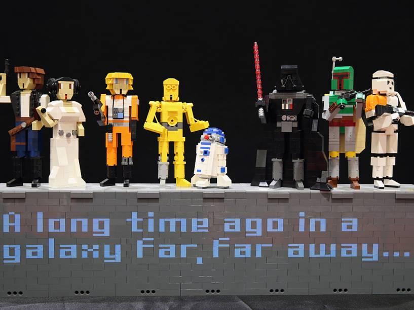 Peças imitando os personagens do famoso filme Starwars, são exibidas durante a Brick 2014, em Londres, na Inglaterra.O evento de quatro dias mostra as melhores criações e corridas de Lego do mundo