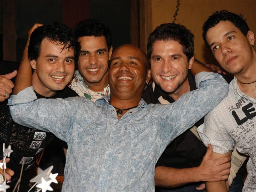 Renner, Zezé Di Camargo, Rick e Daniel no aniversário de Rick no Villa Country, em São Paulo - 2007