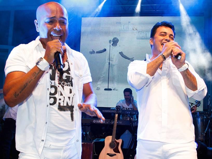 Rick e Renner no show feito para anunciar o lançamento do CD da dupla Inacreditável o Poder do Amor, em São Paulo - 2012