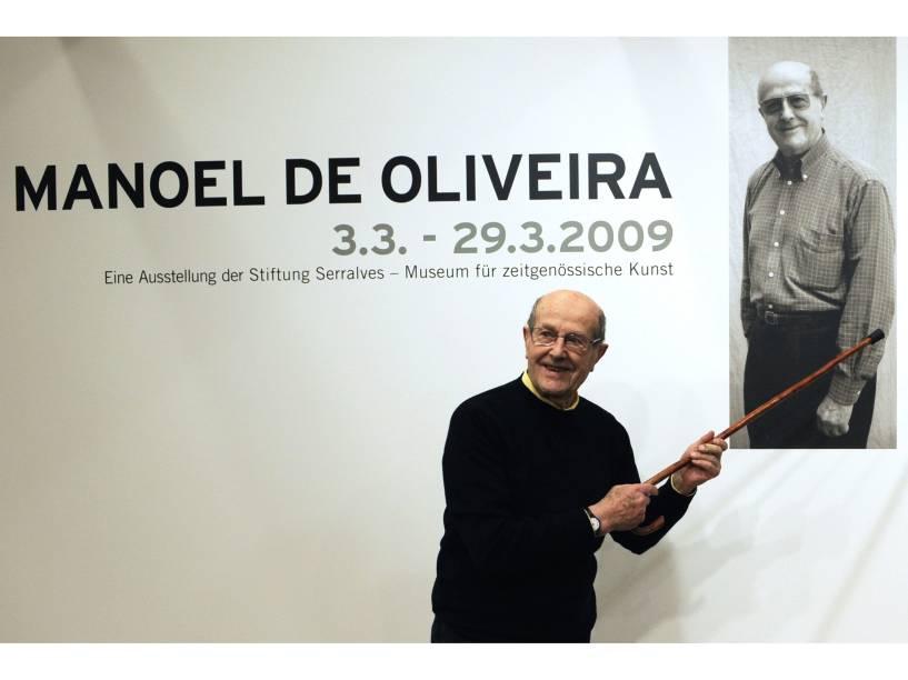 Manoel de Oliveira durante exposição sobre sua obra em 2009, na Academia de Belas Artes de Berlim, na Alemanha