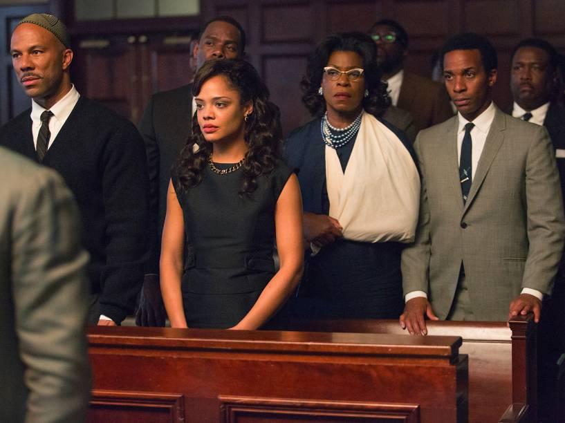 Atores Andre Holland, Colman Domingo, Omar Dorsey, Tessa Thompson durante cena do filme Selma