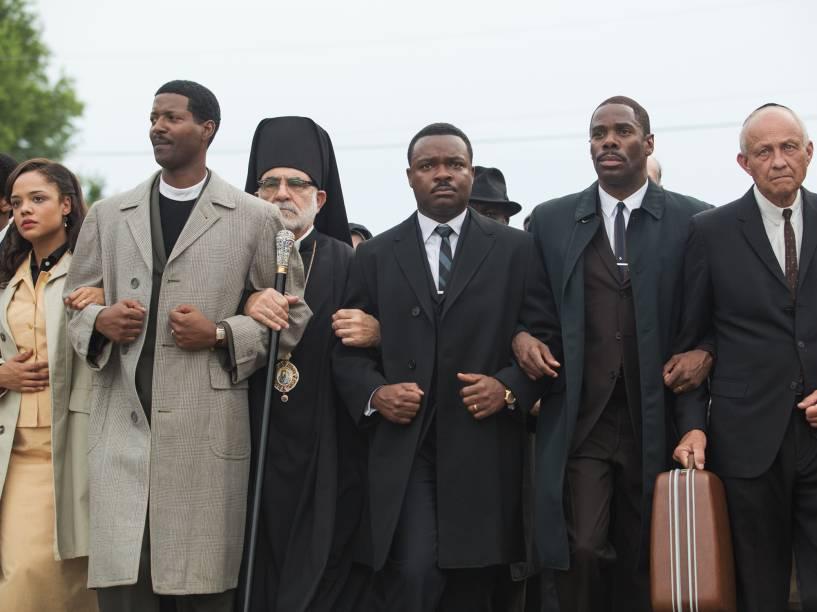 Os atores Andre Holland, Colman Domingo, David Oyelowo e Tessa Thompson no filme Selma