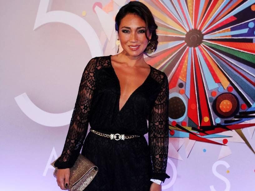 Daniele Suzuki na festa de 50 anos da Rede Globo