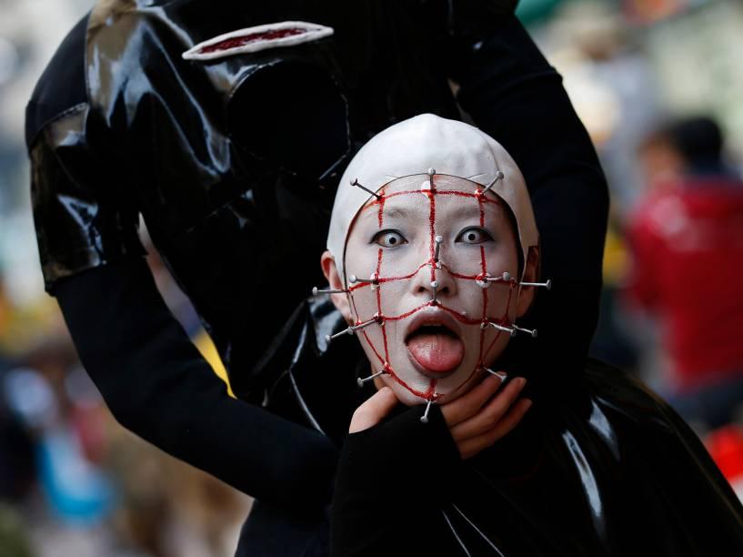 Participante do desfile de Halloween deKawasaki. em Tóquio, no Japão