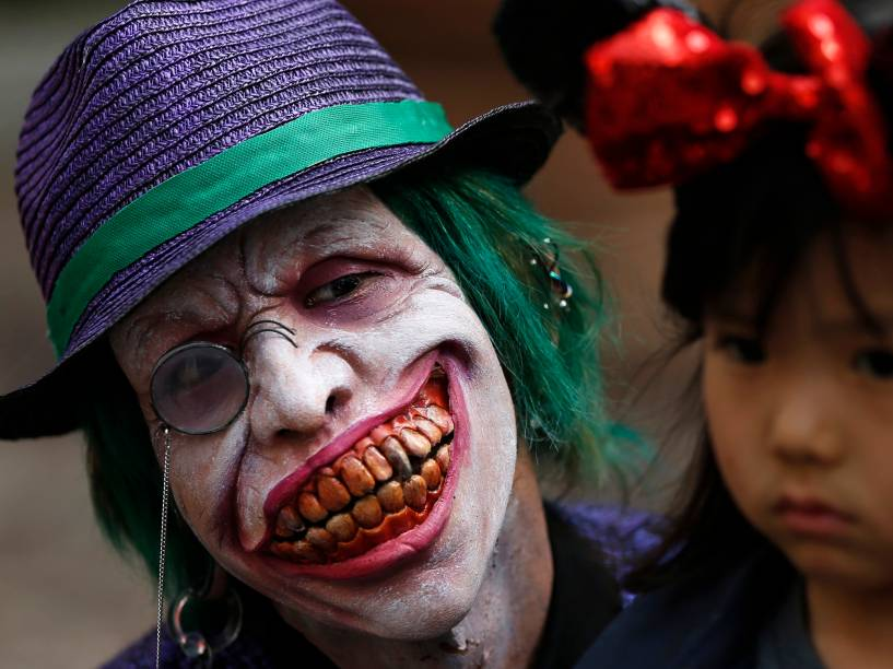Participante do desfile de Halloween de Kawasaki,em Tóquio, no Japão