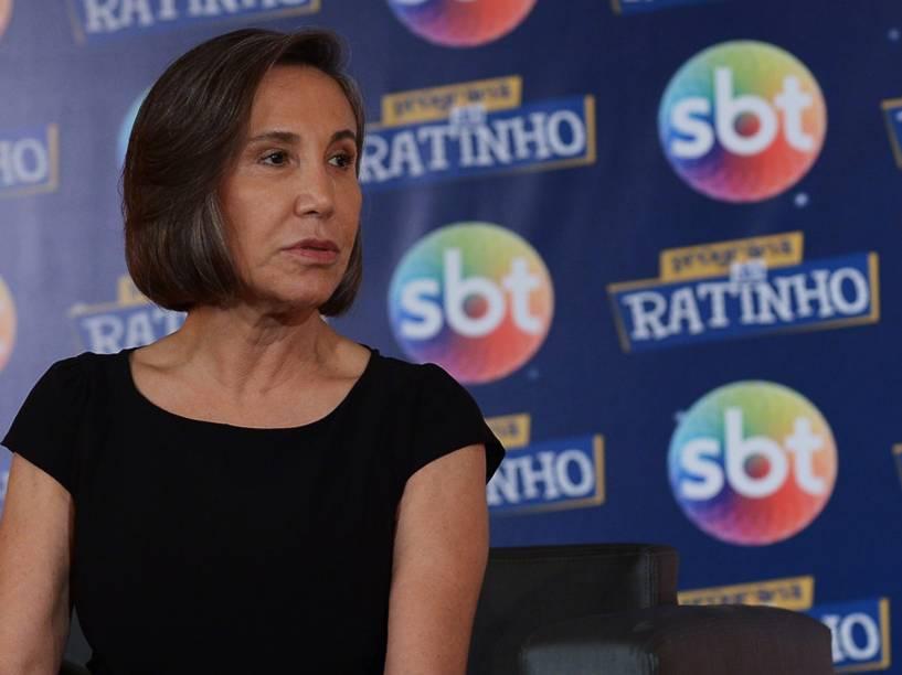 A atriz Florinda Meza, que interpreta a dona Florinda no seriado Chaves, durante coletiva de imprensa na sede do SBT, em Osasco (SP) - 25/02/2015