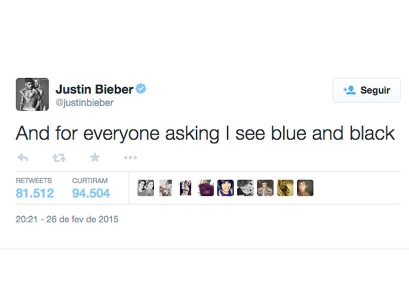 Justin Bieber no Twitter: E para todos perguntando, eu vejo azul e preto