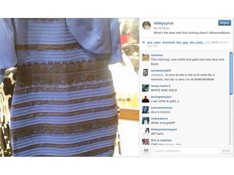 Miley Cyrus no Twitter: Qual é a deste vestido? #azulepreto