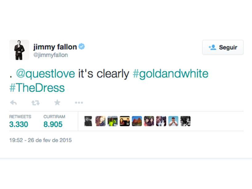 Através de hashtags, Jimmy Fallon responde aos fãs que vê o vestido branco e dourado