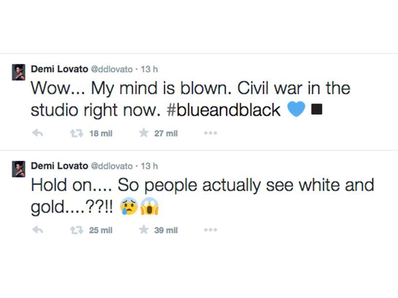 A cantora Demi Lovato também postou no Twitter sobre o vestido: Uau... Estou confusa! Guerra civil no estúdio agora. #azulepreto e, posteriormente, Espera... Então pessoas realmente enxergam branco e dourado?
