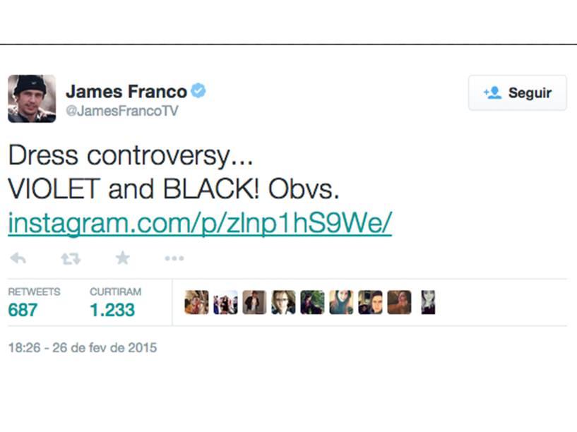 James Franco também entrou no debate do vestido: A controvérsia do vestido... ROXO e PRETO! Obviamente