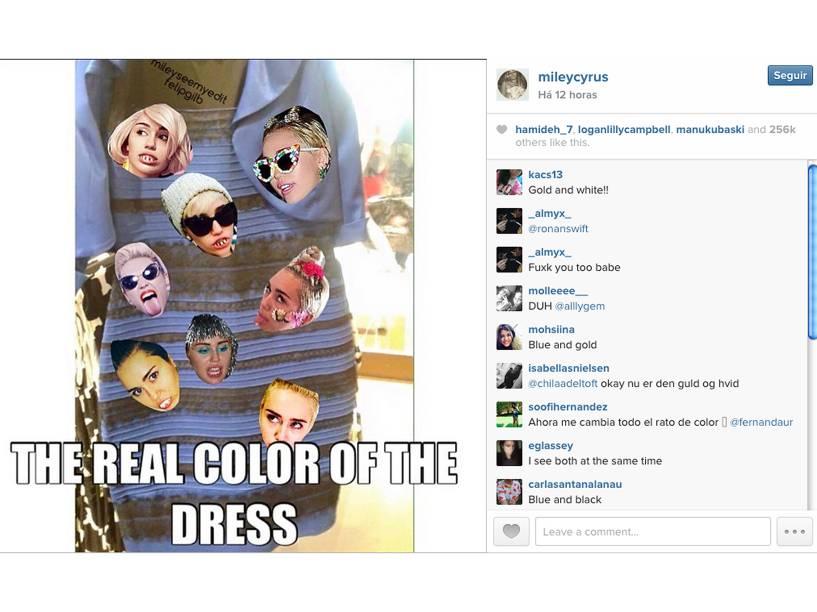 Miley Cyrus criou um meme com o vestido polêmico: A real cor do vestido