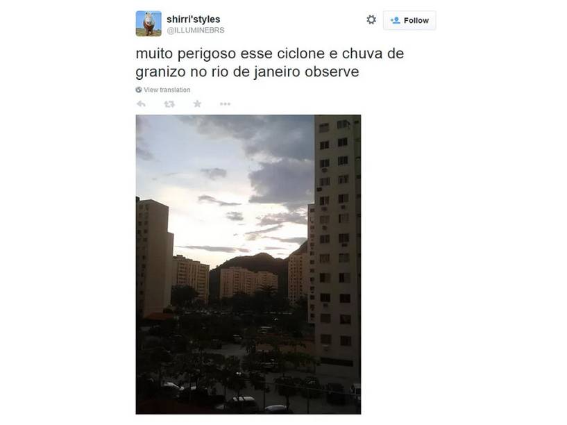 Previsão da passagem de um ciclone no Rio de Janeiro virou piada na internet