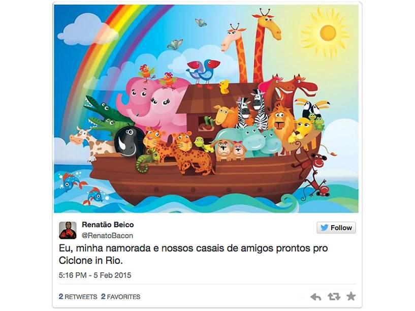 Publicação no twitter ironiza a previsão de ciclone no Rio de Janeiro
