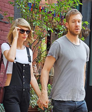A cantora Taylor Swift e o DJ Calvin Harris, no restaurante Spotted Pig, em Nova York - 28/05/2015