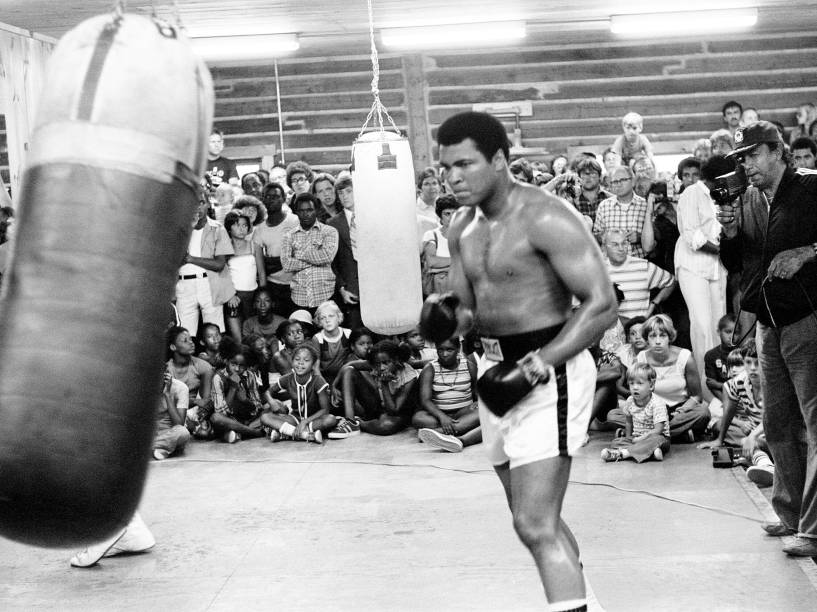 Muhammad Ali treina para sua segunda luta com Leon Spinks, em Nova Orleans, Louisiana, em agosto de 1978