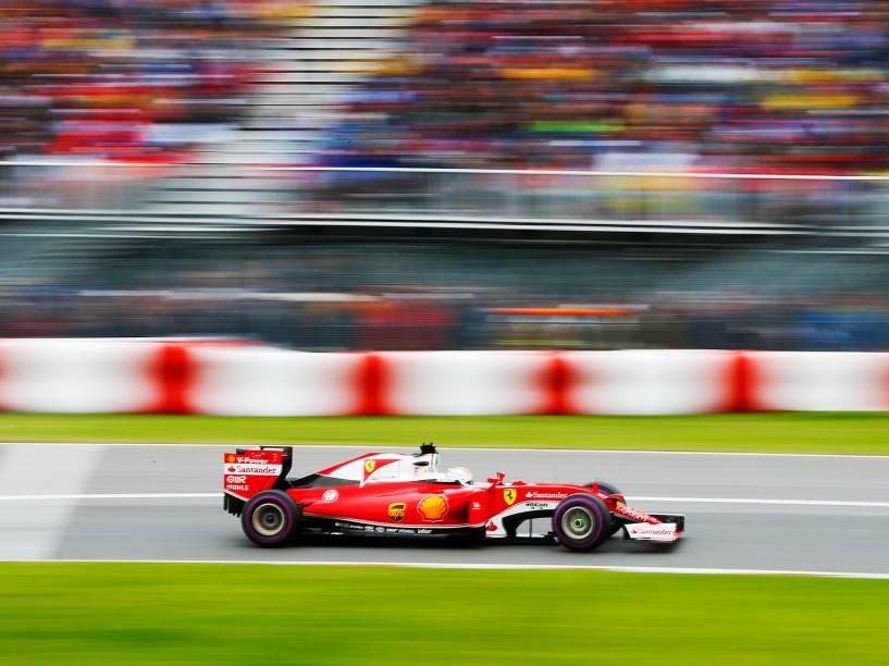 O piloto da Ferrari, Sebastian Vettel, durante o GP do Canadá de Fórmula 1, no Circuito Gilles Villeneuve, em Montreal - 12/06/2016