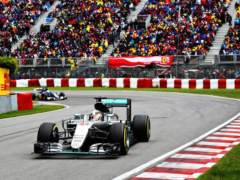 O piloto Lewis Hamilton, durante o Grande Prêmio do Canadá de Fórmula 1, realizado no Circuito Gilles Villeneuve, em Montreal - 12/06/2016