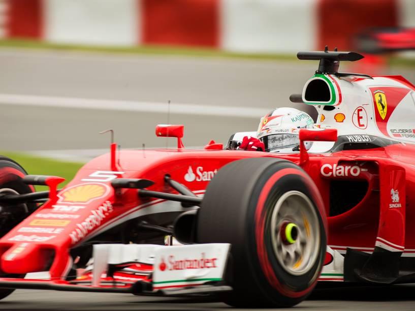 O piloto Sebastian Vettel, durante o Grande Prêmio do Canadá de Fórmula 1, realizado no Circuito Gilles Villeneuve, em Montreal - 12/06/2016
