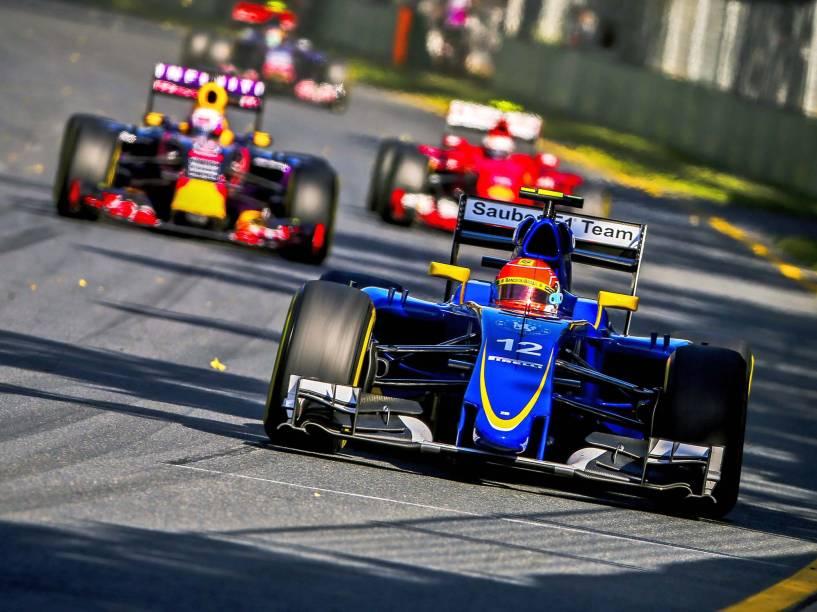 O brasileiro Felipe Nasr, da Sauber, durante GP da Austrália de Fórmula 1, no circuito de Albert Park, em Melbourne