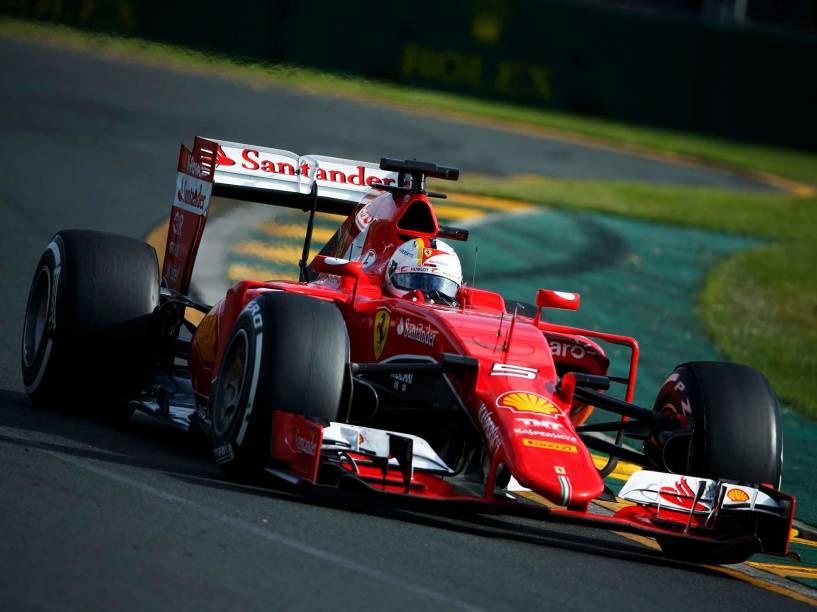 Sebastian Vettel, da Ferrari, durante o GP da Austrália, em Melbourne