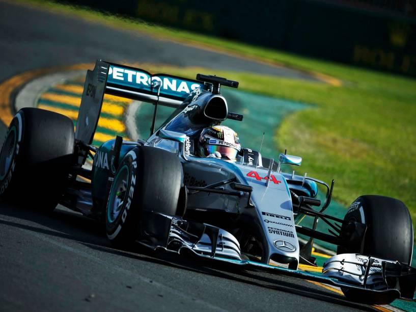 Lewis Hamilton, da Mercedes, durante o GP da Austrália, em Melbourne