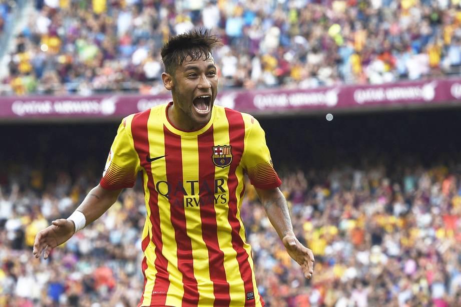Neymar marcou os gols na vitória do Barcelona por 2 a 0 sobre o Athletic Bilbao pelo Campeonato Espanhol - 13/09/2014