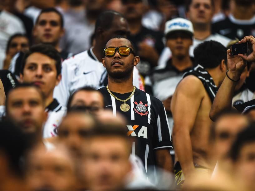 Torcida do Corinthians na partida contra o Palmeiras, válida pela semifinal do Campeonato Paulista