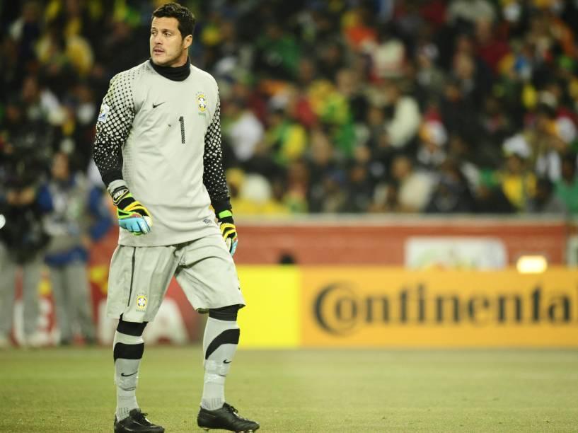 Júlio César goleiro do Brasil durante partida contra a Costa do Marfim, válida pela Copa do Mundo de 2010 na África do Sul