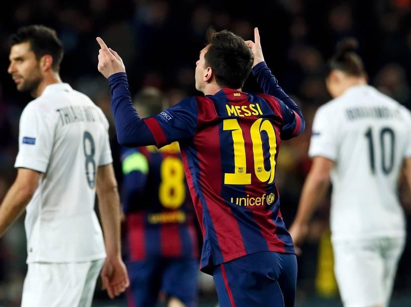 Lionel Messi, do Barcelona, comemora gol contra o Paris St Germain