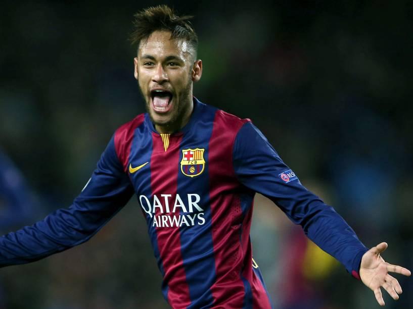 Neymar comemora gol do Barcelona contra o Paris St Germain